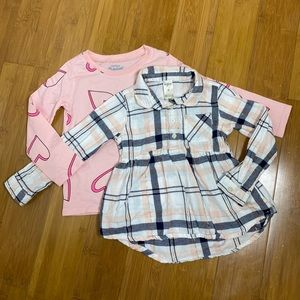 lot of 2 OshKosh long sleeve tops pink 3T